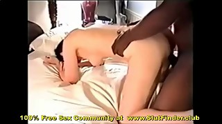 The man turned up wife fucks black lover's big cock