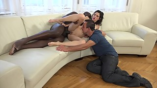 Cuckold wife get anal from a big black dick while her husband watches