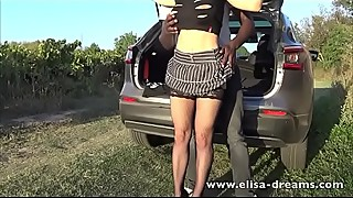 Hotwife is a big black cock outdoor