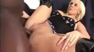 Blonde milf wife with boots fucked like a whore by a big black dick