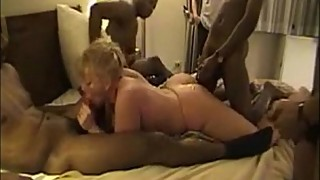 75-chubby blonde slut gangbanged by huge black cock