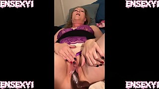 Ensexy1: wife cum on a big black cock dildo, while the cuckold film