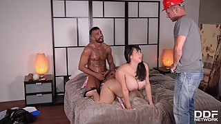 Goes deep inside horny, busty housewife fucked by two studs