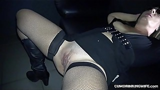 Slutwife gangbanged by many strangers in adult cinema