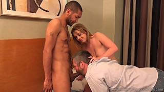 Tasty hot wife and husband share a black co