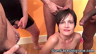Cute brunette woman gets her mouth