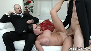 Big, ass, wife, raven bay puts on a wild sex show for her husband cuckold