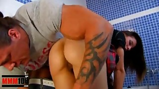 Busty housewife gets fucked in the ass with a hot muscular plumber