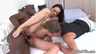 Cum swap cuckold licks, while his wife, laura davis takes a huge black cock in all holes