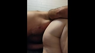Wife fingers wile sucking my cock