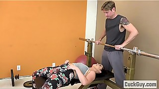 Cheating wife fucks her trainer gym