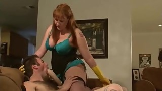 The red-haired amazon for the bullying wife, the husband's friend in a hardcore sex