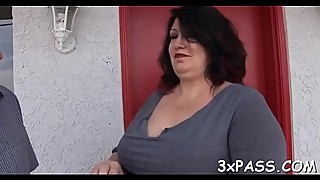 Chubby bitch gets her shaved vagina nailed in front of the camera