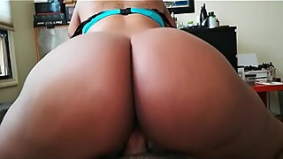Reverse cowgirl ebony wife