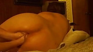 Kinky wife in her loose pussy double fist