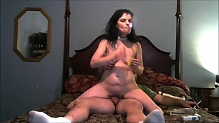 Wife riding cock and gets a deep dp by a dildo