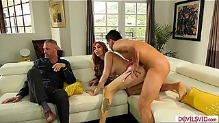 The wife is giving her husband a blowjob, watch him