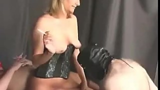 The man licks cum from pussy wife