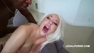 Double big black cock for blonde wife cuckold