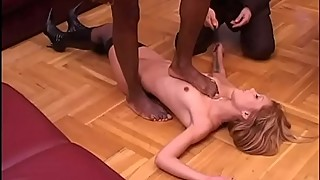 A white cuckold sees his asian wife surprised by a black
