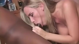 Hotwife swallow big black cock while the husband watches