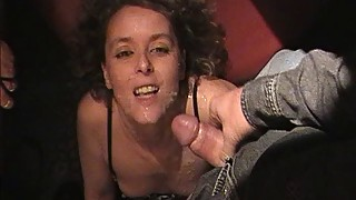 A hot wife sucks off 18 men at the swingers club