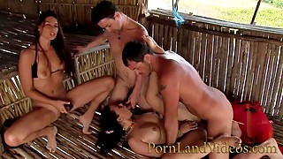 Slut wife-hot group fuck-anal sex on the beach double penetration