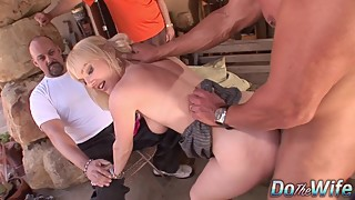 Husband watches blonde wife liz black sucking on a big cock before the facial