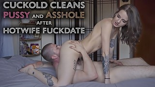 Young hotwife makes cuckold clean used pussy ass tongue after fuckdate