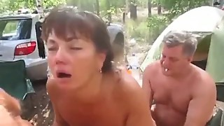Russian amateur wife gets fucked by a group