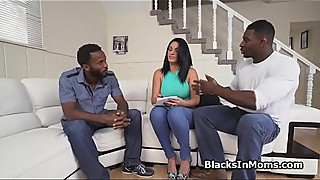 Spanish milf two big black cocks