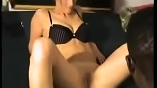 Well-trained wife in the leg to the big black cock while cuckold films