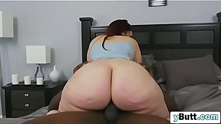 Flawless big butt brunette woman, deepthroat, blowjob, big black dick man, shut the door