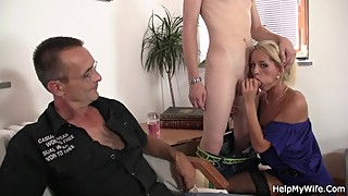 Sexy blonde wife sucks and rides her young cock
