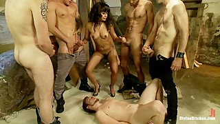 The poor cuck being humiliated by the wife, gangbang