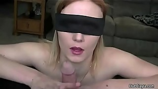 A beautiful woman with a blindfold on, and the split from her husband, the humiliation, the old man, hard, moans)