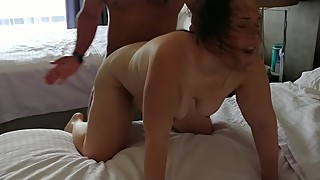 Kiss hard hotwife bull in front of cuckold