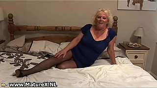 Blond mature housewife in sexy black