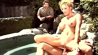 Blonde swinger wife outdoor, fucking an unknown