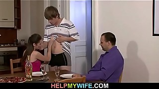Oldman asks the delivery boy to fuck his young wife