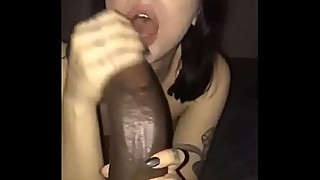 White girl and a scary big black dick