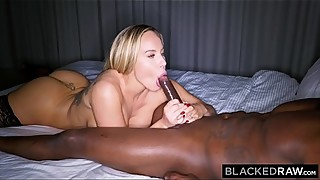 Blackedraw trophy wife fucks big black cock, hotel, and calls on men