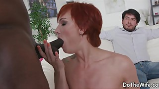 Red hair wife kessie to be ashamed to push the big black cock in every hole as watch cuckold