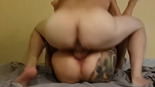 The tattooed woman is fucked by a friend in the future.5